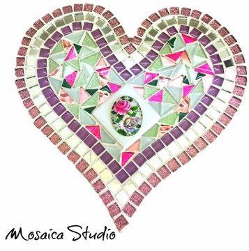Mosaic Shabby Chic Heart - Kit-Set by MosaicStudio1 on Etsy