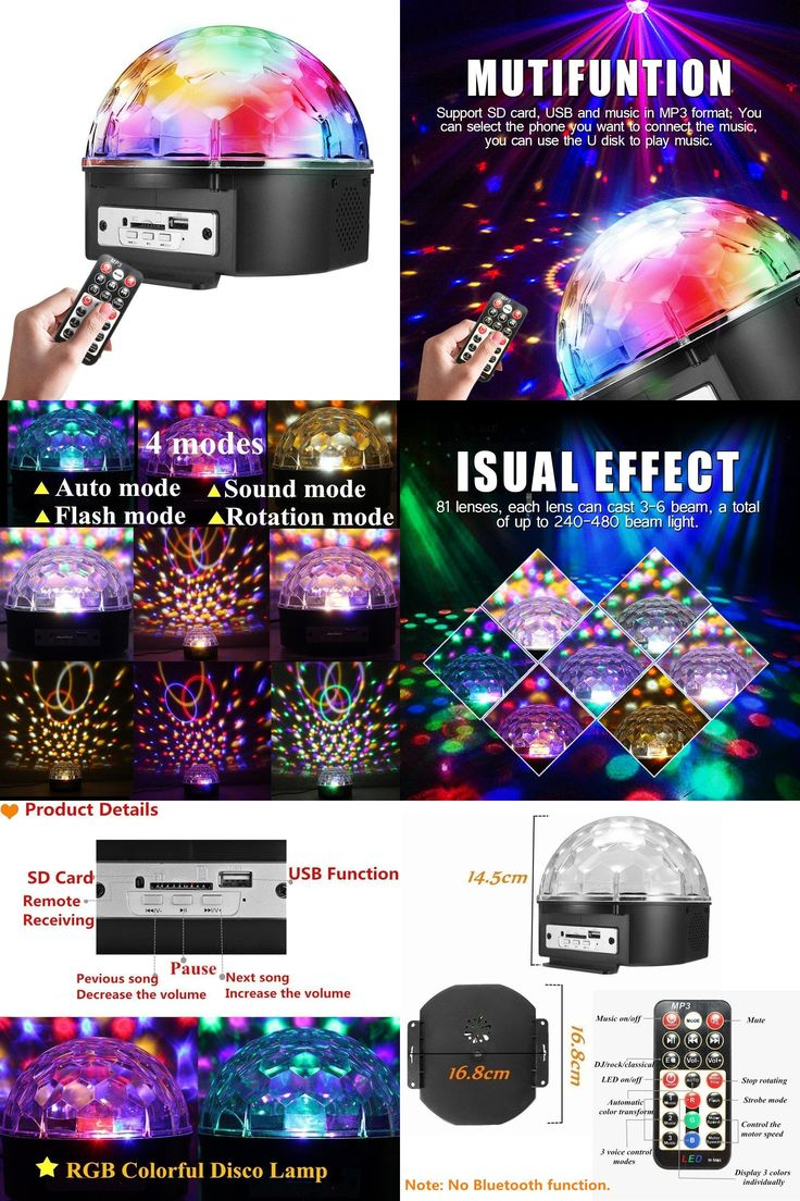 [Visit to Buy] Stage Lights 9 Color LED DJ Disco Lights Party Lights Rotating Crystal Magic Ball Lights Sound Activated Strobe Effect Light #Advertisement