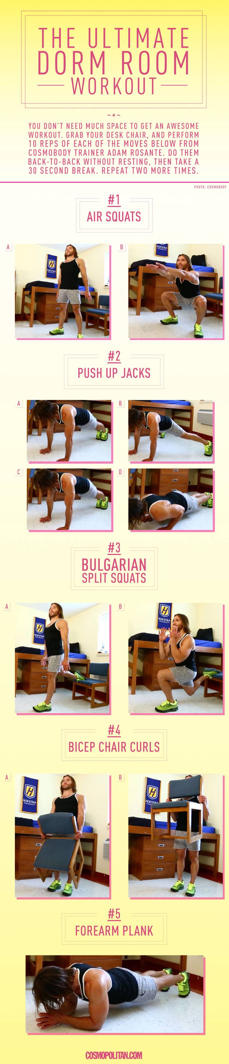 5 Exercise Moves You Can Do in Your Dorm Room | Cosmopolitan