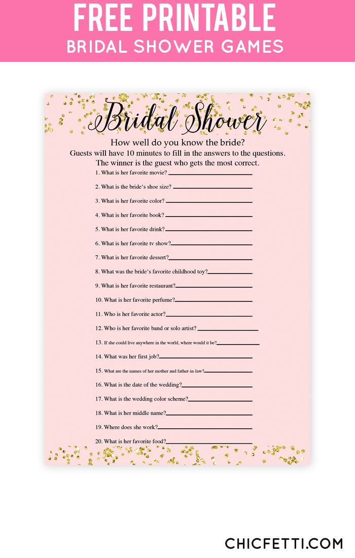 Free Printable Bridal Shower Games How Well Do You Know