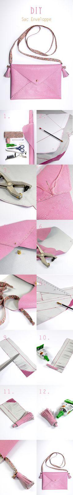 DIY tuto sac enveloppe en cuir- leather envelope bag