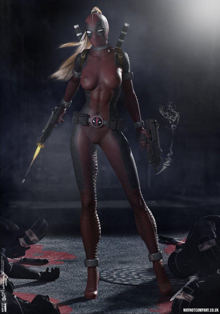 Lady Deadpool ...Ninja Attack! 'Dark City' Series by DevilishlyCreative.deviantart.com on @DeviantArt #ladydeadpool #Lady #Deadpool #Fan #Art