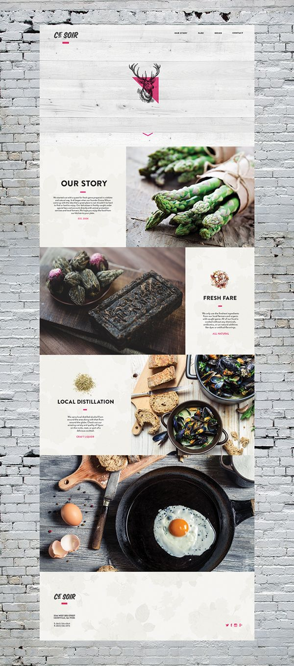 Restaurant Design | #restaurant #webdesign #website #grey #modern