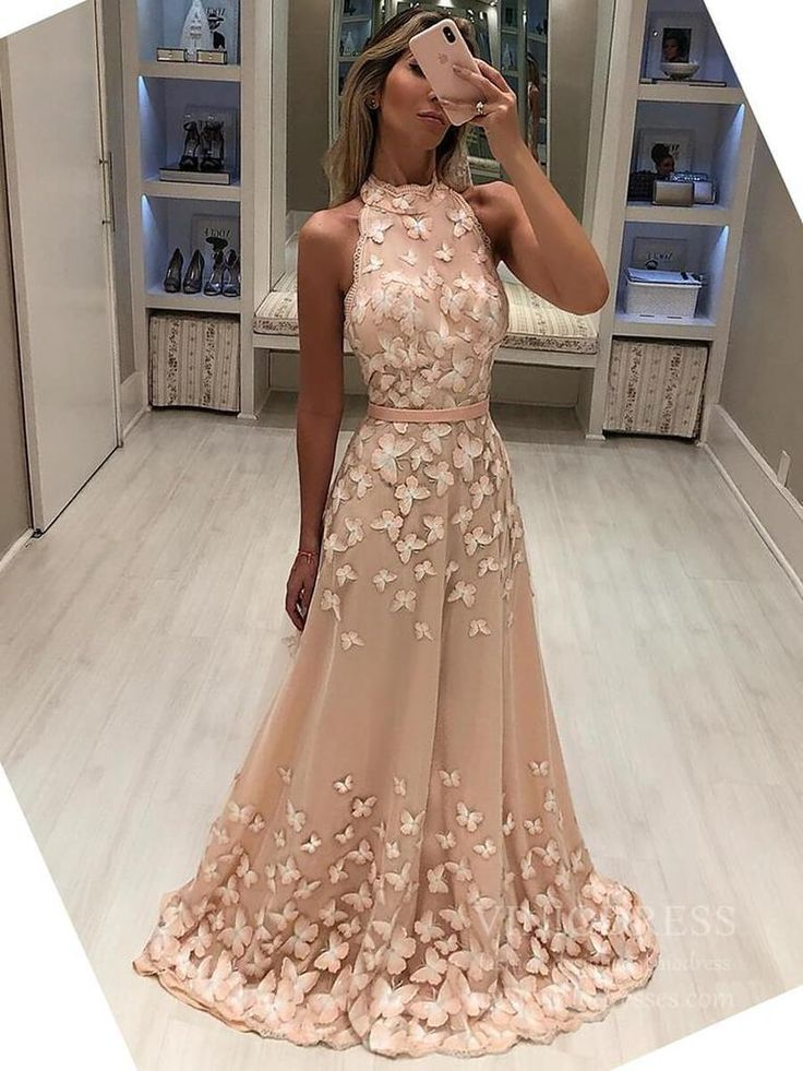 High Neck 3D Butterfly Junior Prom Dresses Backless Formal