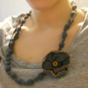 DIY Fabric NecklaceCrafts Ideas, Diy Necklaces, Akelas Necklaces, Diy Fabrics, Uglies Beads, Diy Jewelry, Fabric Necklace, Fabrics Necklaces, Diy Akelas