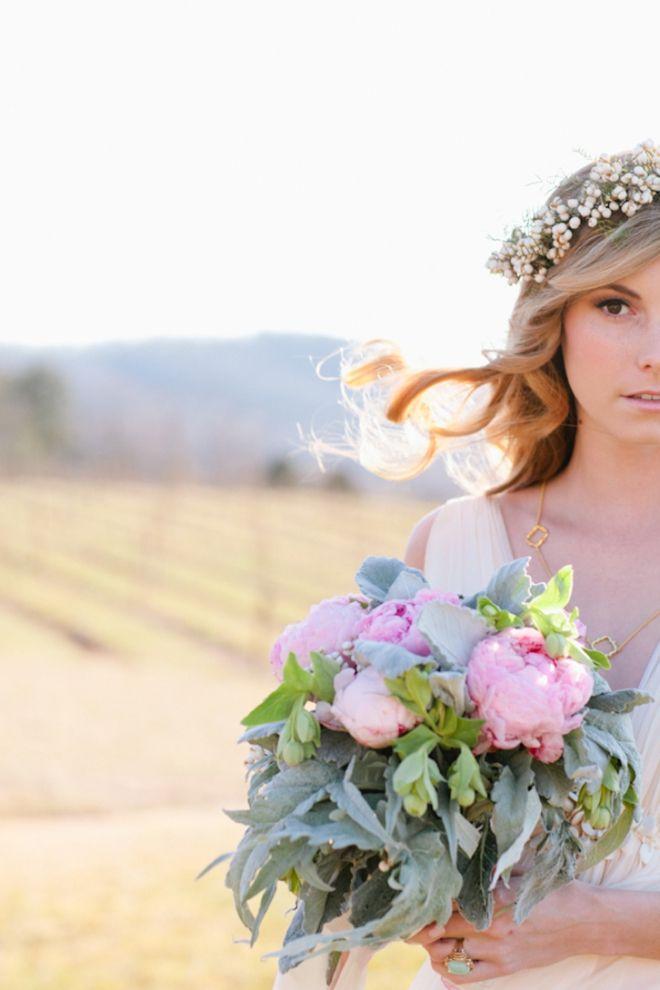 wild pink peonies + floral crown. Photo by Eric Kelley