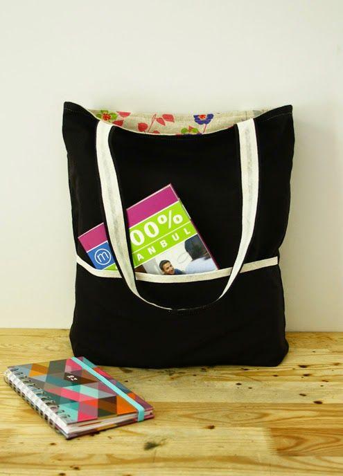 Reversible tote bag, sewing pattern