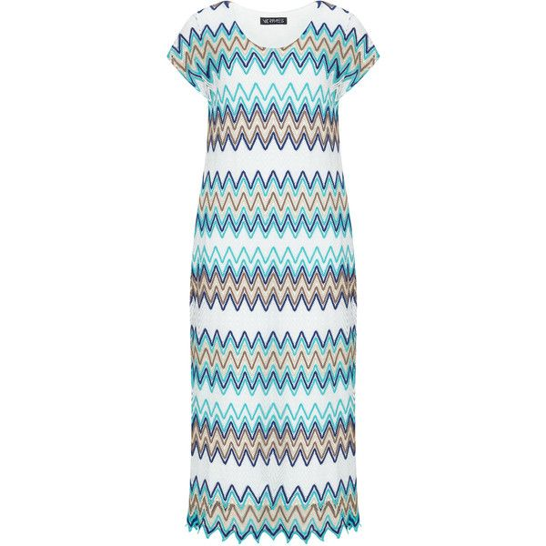 Verpass Blue / Turquoise Plus Size Chevron maxi dress ($120) ❤ liked on Polyvore featuring dresses, blue, plus size, plus size maxi dresses, colorful maxi dress, plus size blue dress, plus size turquoise dress and women's plus size dresses