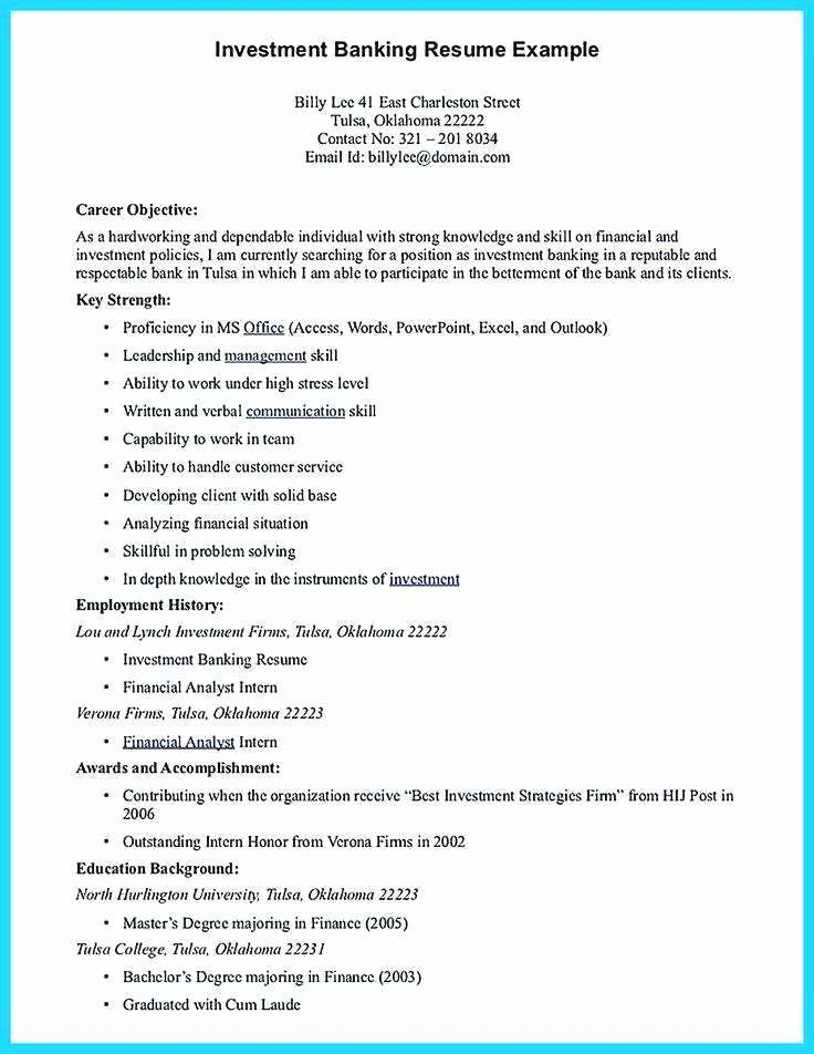 Investment Banking Resume Template Luxury 11 12 Personal Investing On Resume In 2020 Good Objective For Resume Resume Objective Resume Objective Statement