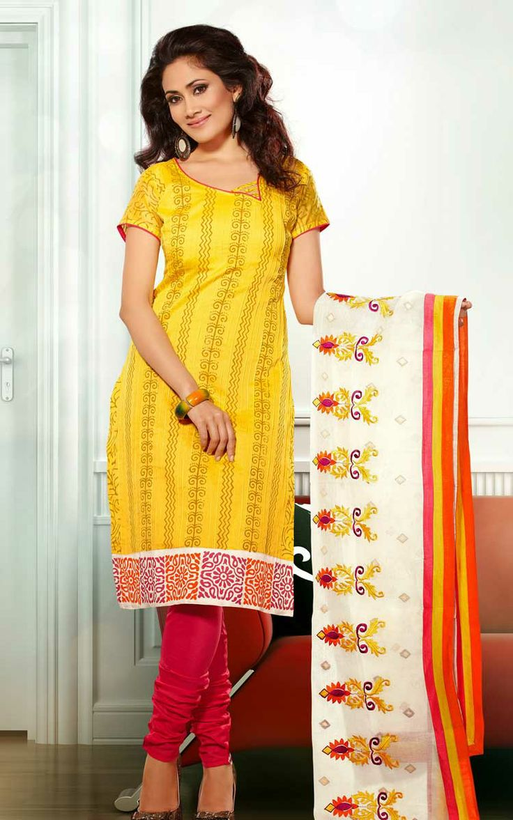 YELLOW & RED CHANDERI COTTON SALWAR KAMEEZ - RUD 33001B