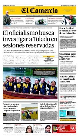 MARTES 18 de JUNIO de 2013  (PORTADA DE EL COMERCIO)