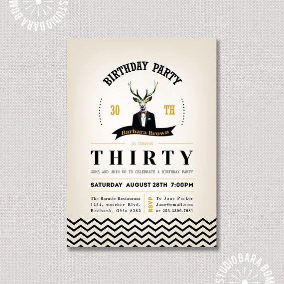 30th birthday Party Invitation, Invitation d'anniversaire adulte - imprimable 21, 40, 50, 60 inviter de jalon - invitation Chevron - AB12 sur Etsy, 12,14€