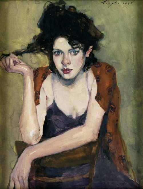 Artist: Malcolm T. Liepke {contemporary figurative pretty female woman décolletage portrait painting}