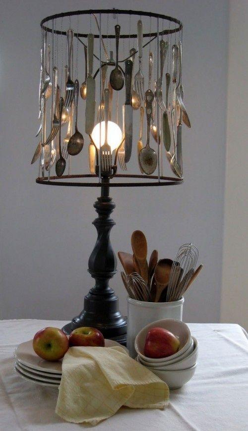 kreative upcycling bastelideen lampenschirm löffel gabeln