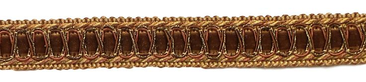 Vintage 1 Inch (2.5cm) Wide Brown, Light Gold Gimp Braid Trim - English Toffee 08 (Sold by The Yard)