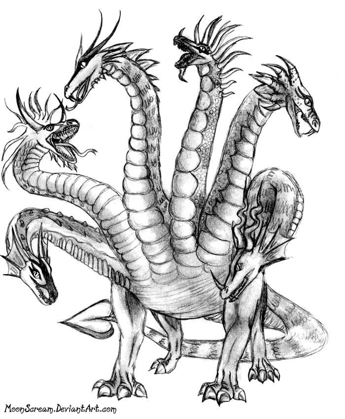 Hydra Greek Mythology Drawing With Images Dragon Drawing