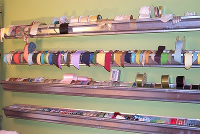 Gutters as ribbon storage... Have to try this genius idea!: Ribbons Holders, Ribbon Storage, Rooms Ribbons, Crafts Rooms, Ribbons Storage, Sewing Rooms, Photo, Storage Ideas, Craft Rooms