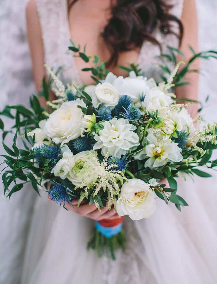 Indigo + ivory bridal bouquet with thistle + garden roses