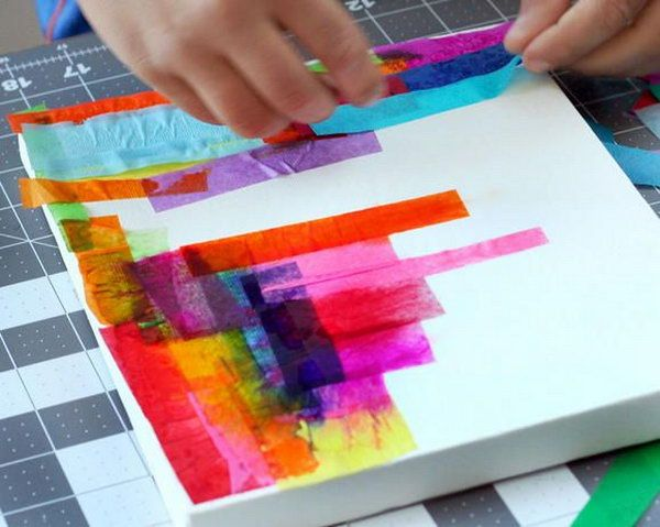 Painting with tissue paper is not only fun but beautiful! http://hative.com/creative-tissue-paper-crafts-for-kids-and-adults/