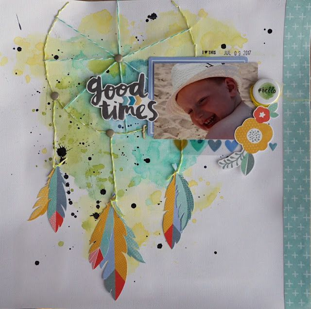 Sara Kronqvist - Saras pysselblogg: Good times   Dreamcatcher scrapbook layout
