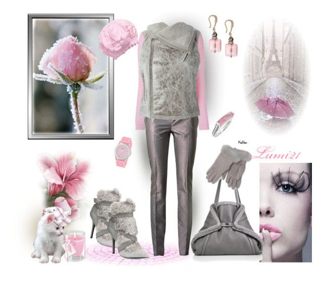 pink and gray make my day by lumi-21 on Polyvore featuring Jil Sander, Yves Saint Laurent, Charles Jourdan, Akris, Lagos, Golden Classic, Brooks Brothers, H&M, Rick Owens and David Yurman