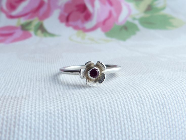 Silver Flower Garnet Stacking Ring.  Daisy RIng.