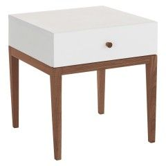 TATSUMA White 1 drawer bedside table