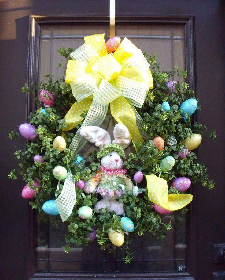 Easter Wreath, Spring Wreath, Designer Door Wreath, Bunny Wreath, Easter Decor. $165.00, via Etsy.