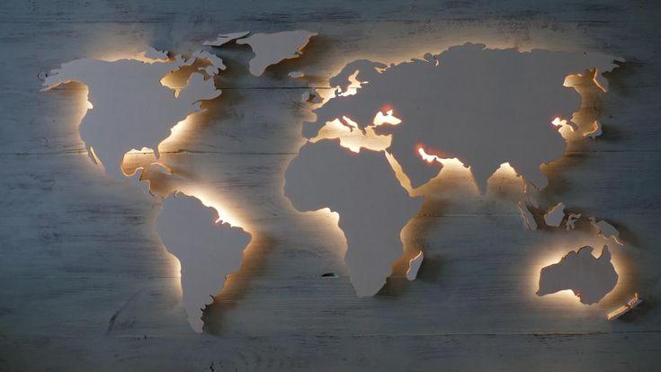 3D Weltkarte aus Holz – Pappel