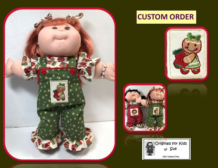 "Handcrafted Doll Clothes to fit Cabbage Patch Kids .... Fits  13/14"" ....   Christmas Overall Outfit  ....  with ""Gingerbread and Christmas Stocking"" Embroidery Design   ................  EBAY and ETSY shop name:  hudson77ma  FACEBOOK:  Originals for Kids by Sue AKA hudson77ma"