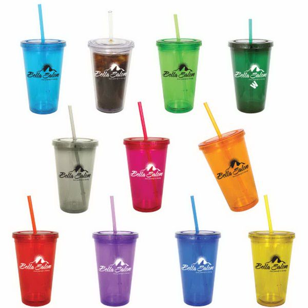 """Oli double wall acrylic 16 oz. tumbler with twist-on lid, wide mouth, bold colors, and matching straw. Size: 4"""" x 6 1/4"""". Helps maintain ideal temperature-does not sweat, no more broken glass on patio, pool or boat. Lid keeps bugs out and prevents spills. BPA free. Order processing fee includes: no rush charges, no setup fees, no 3rd party shipping charges, no exact quantity charges, no proof charges, and covers up to three (3) drop ship locations."""