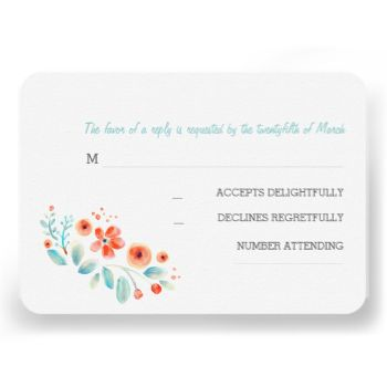 Hand painted watercolor flowers wedding reply cards #floral #rsvp #wedidng #flowers #rsvp #painted #flowers #rsvp #handwritten #rsvp #coral #blue #white #artistic #casual #reply #response #rustic #country #rsvps