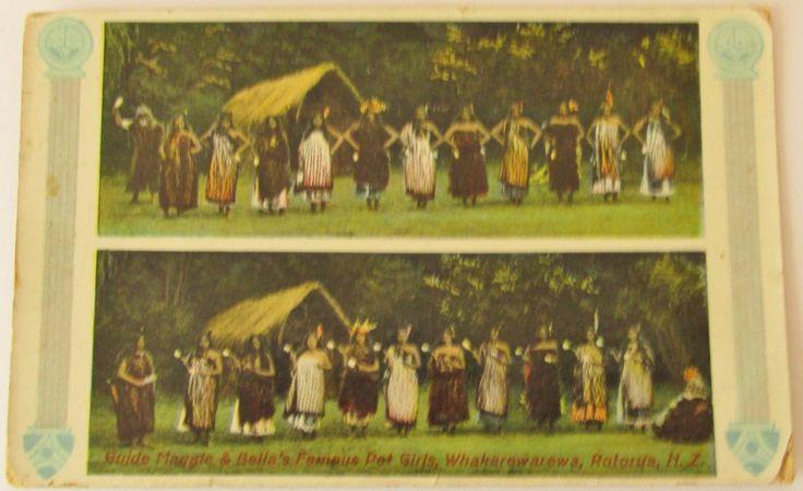 Guide Maggie and Bella's famous poi girls ,Whakarewarewa , Rotorua , NZ , Tucks Rapholette Glosso series , C. Pakerson ,  unused 1910