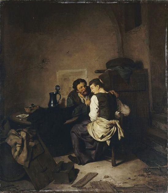 Бега Корнелис Питерс (Bega, Begga, 1620-1664) - Сцена в трактире (Лувр, Париж)