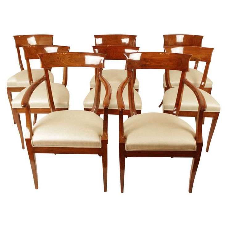 Set Of Eight Austrian Biedermeier Chairs, Two Armchairs And Six Side Chairs