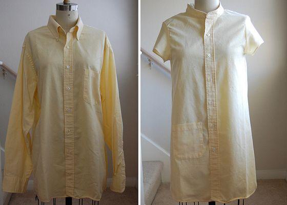 How-To: Refashion Men's Shirt Into a Shirtdress