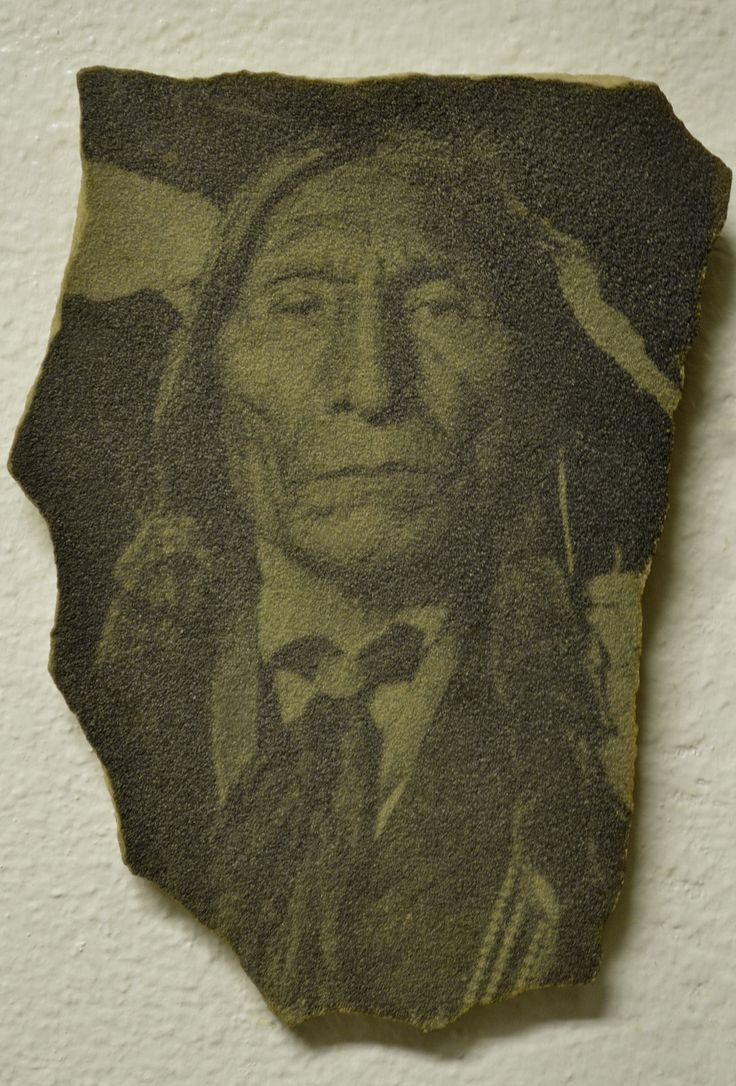 Honii Wotoma (aka Wolf Robe) - Southern Cheyenne  photographically printed on sandstone instead of paper.