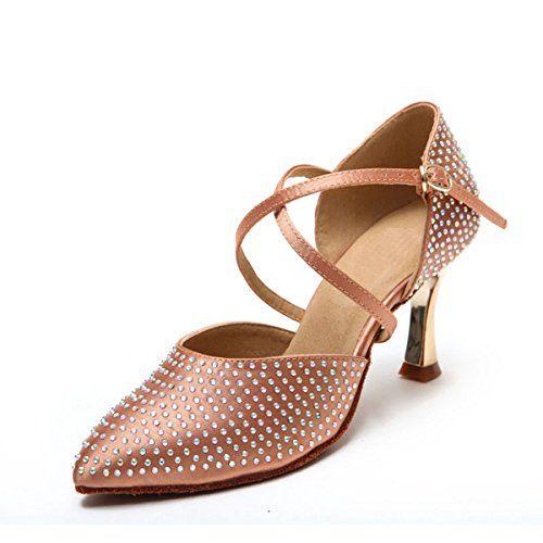 Miyoopark KS128 Womens Sparkle Closed Toe Nude Satin Latin Salsa Ballroom  Wedding Shoes 55 US -
