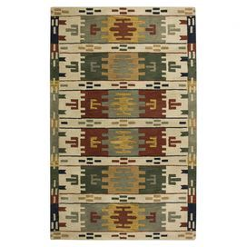 Wool rug with a multicolor Southwestern-inspired motif. Hand-tufted in India.  Product: RugConstruction Material: 100% WoolColor: BeigeFeatures:  Hand-TuftedMade In IndiaInspired by the distinctive styling of Native American art and textiles  Note: Please be aware that actual colors may vary from those shown on your screen. Accent rugs may also not show the entire pattern that the corresponding area rugs have.Cleaning and Care: Vacuum regularly and spot clean Joss & Main