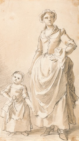 Paul Sandby, 1731-1809, British, Woman and Child Holding a Doll, between 1758 and 1760, Graphite, brown wash, gouache and pen and brown ink on thin, cream, slightly textured laid paper, Yale Center for British Art, Paul Mellon Collection