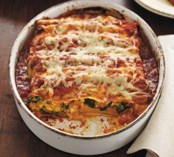 Pumpkin and spinach canneloni