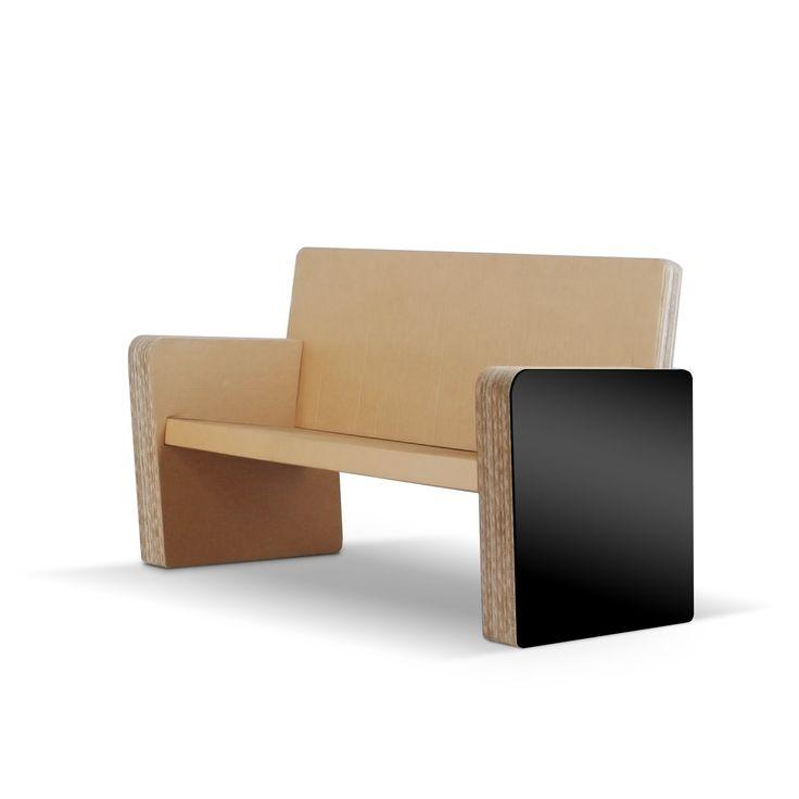 CINEMA - Carton Factory Designer: Claudio Maccari Misure: 68 X 125 X 85 h  Divano in cartone con profili in Mdf.  #ecodesign #cartonfactory #cardboard #sofa
