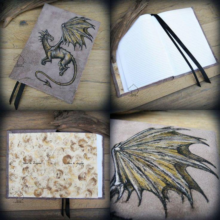 Here be dragons - leather hardcover journal by Dark-Lioncourt.deviantart.com on @DeviantArt