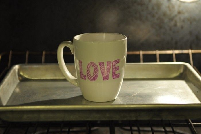 DIY Valentine's Sharpie Mugs - your homebased mom place mug in cold oven, bake at 425F for 30 minutes, leave in oven to cool.