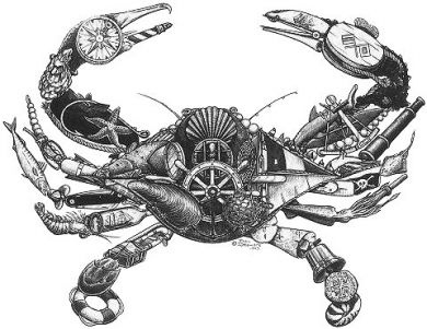 Crab art comprised of nautical pieces