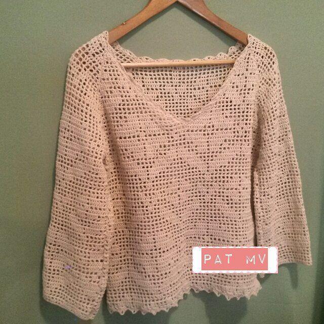 patrones de blusa crochet filet