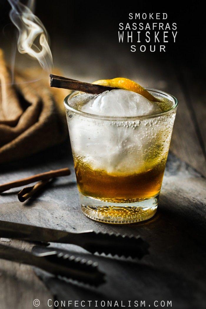 Smoked Sassafras Whiskey Sour Cocktail Drink Recipe
