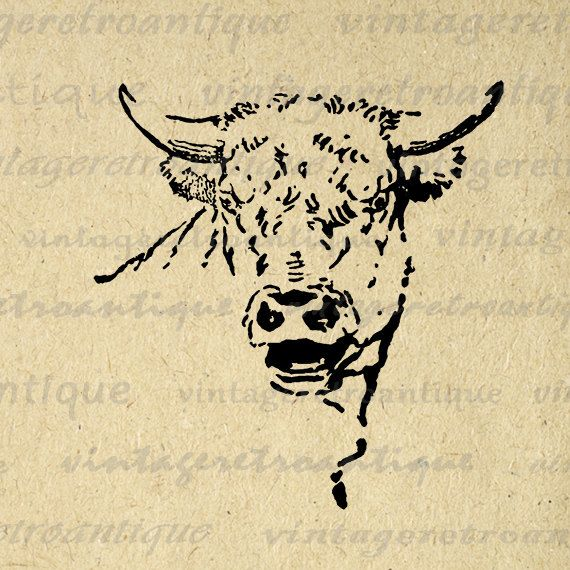 Digital Mad Cow Bull Image Graphic Horns by VintageRetroAntique