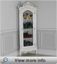 French Chateau White Glazed Display Corner Cabinet