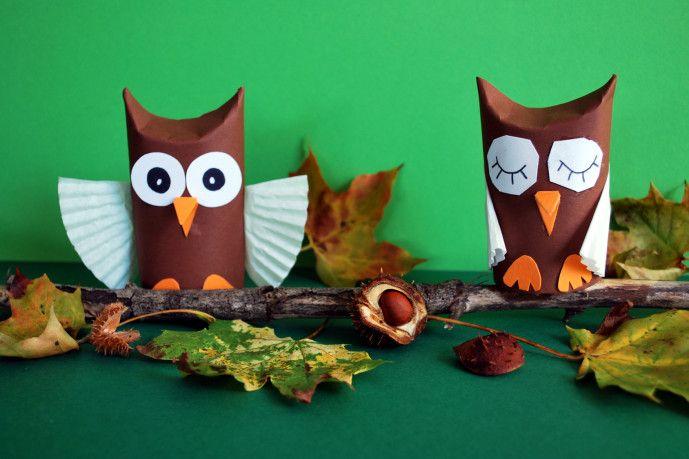 Owls from toilet paper rolls - Kinderspiele-Welt.de (Use Google Translate)